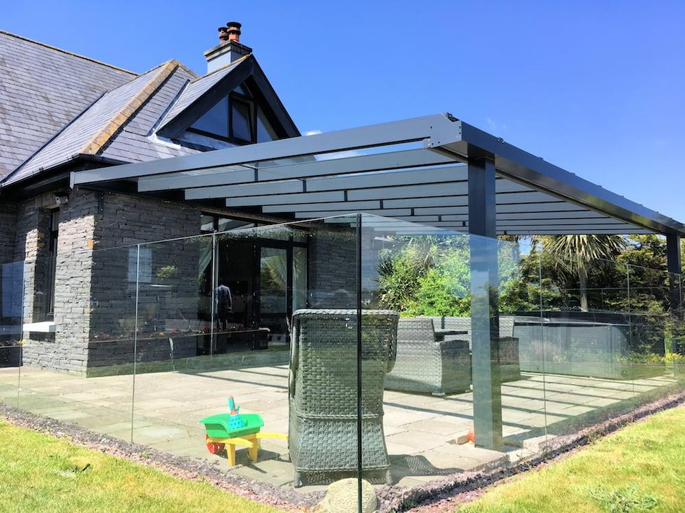 Anthracite Grey Contemporary Veranda in Lancashire, with Glass Balustrade